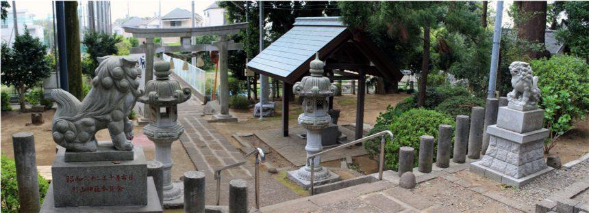 杉山神社の鳥居と水屋、狛犬