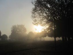 霧に包まれた朝日